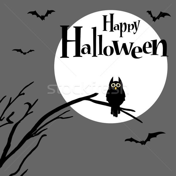 Halloween scary gufo luna piena illustrato elementi Foto d'archivio © opicobello