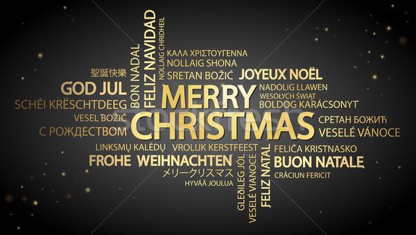 Szófelhő vidám karácsony szöveg különböző nyelvek Stock fotó © opicobello