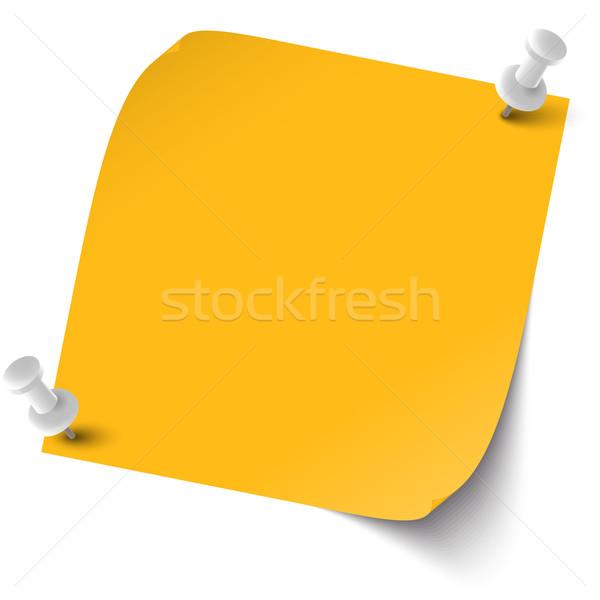Colorato nota pin ago arancione notebook Foto d'archivio © opicobello