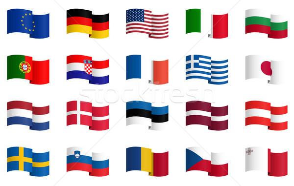 Coleção país bandeiras pequeno famoso vetor Foto stock © opicobello