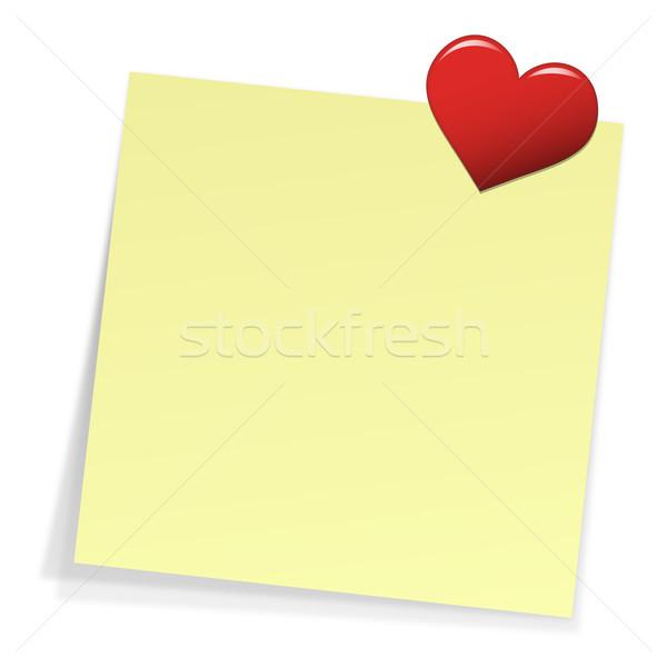 Nota cuore pin giallo sfondo matrimonio Foto d'archivio © opicobello