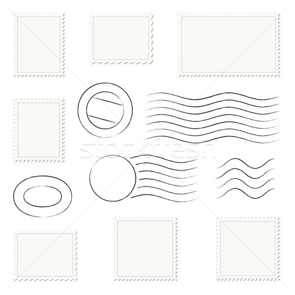 Collectie postzegels brief stempel papier bedrijf Stockfoto © opicobello