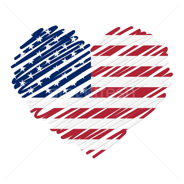 Vonal rajz szív USA szeretet absztrakt Stock fotó © opicobello