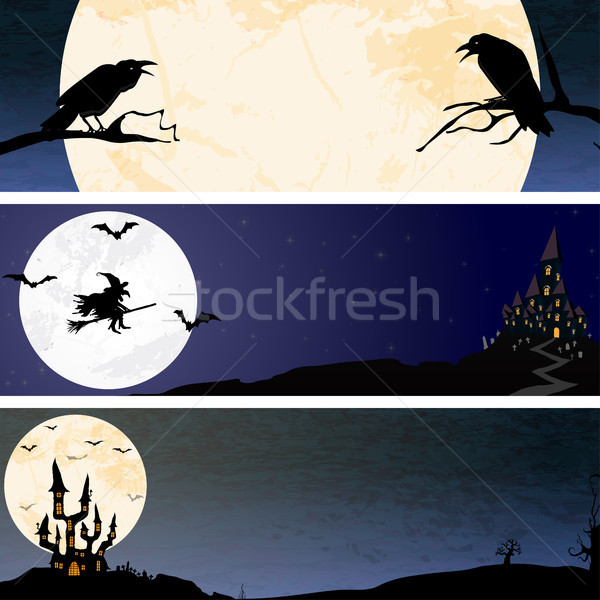 Stockfoto: Halloween · scary · maan · banner · achtergronden · drie