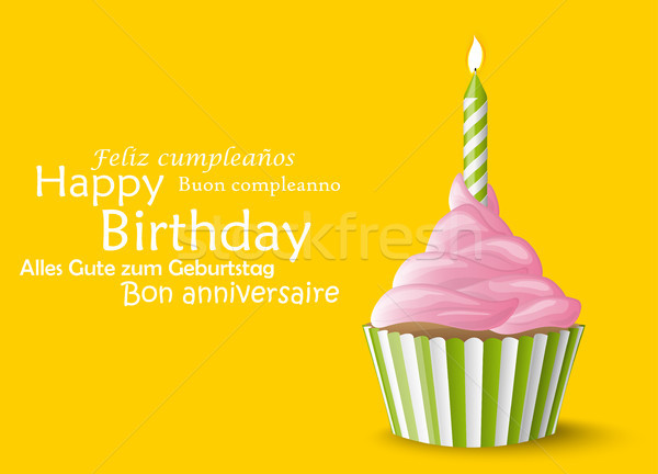 Happy Birthday cupcake with candle Stock photo © opicobello