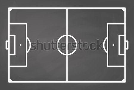 Foto stock: Campo · de · fútbol · pizarra · fútbol · resumen · fondo · gráfico