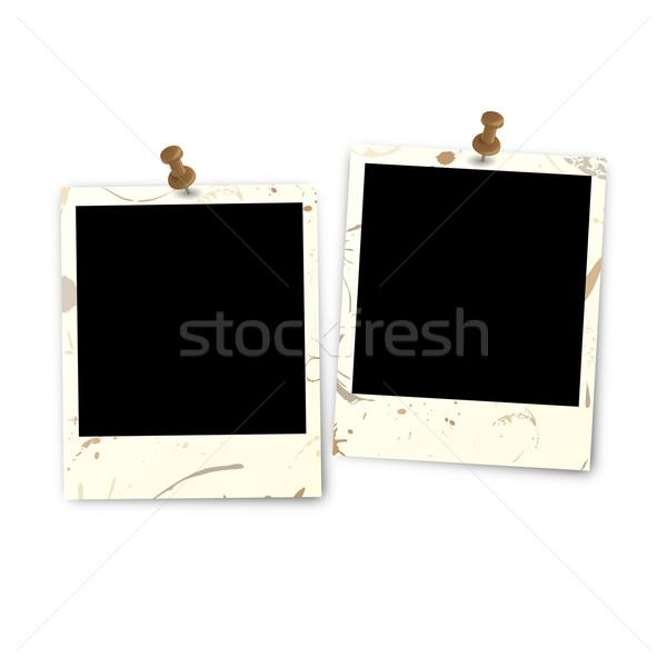 Two polaroid dirty with pin needle Stock photo © opicobello