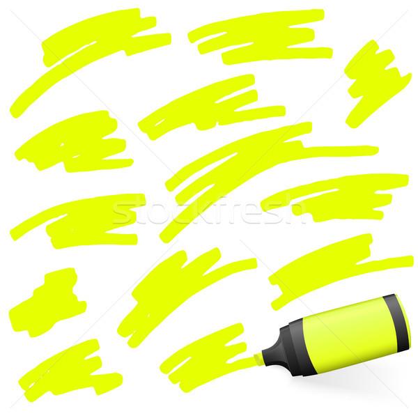 Gekleurd markeerstift Geel hoog lichter verschillend Stockfoto © opicobello
