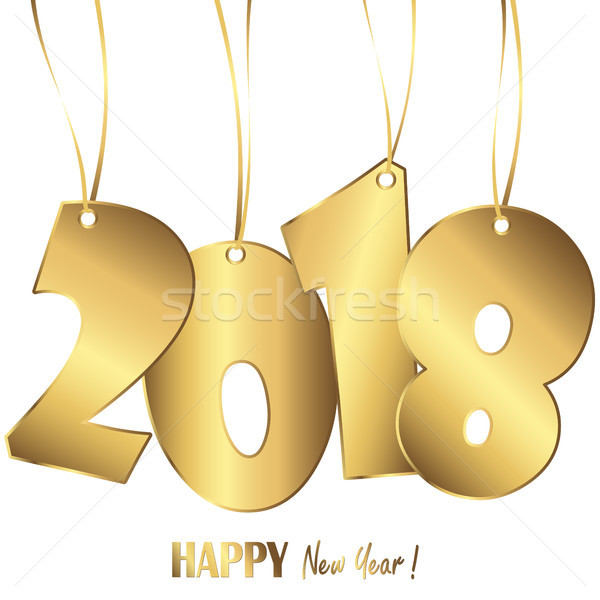 Stock photo: hanging numbers new year 2018