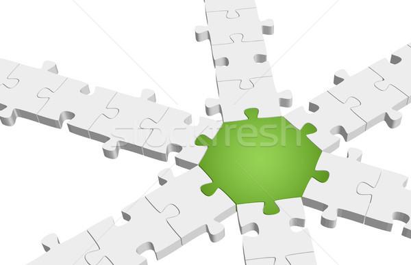 three dimensional puzzle connection Stock photo © opicobello