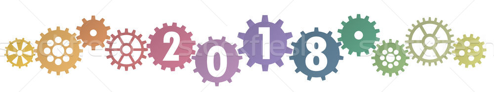cooperation gears for New Year 2018 Stock photo © opicobello