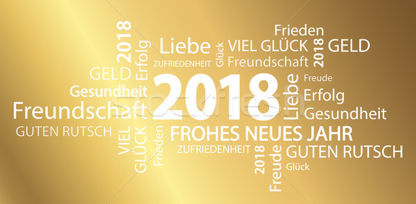 word cloud with new year 2018 greetings Stock photo © opicobello