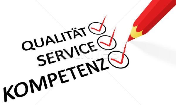 red pencil and text Quality service competence Stock photo © opicobello