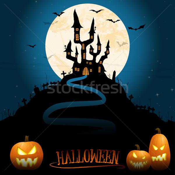ハロウィン 怖い 城 暗い 満月 図示した ストックフォト © opicobello