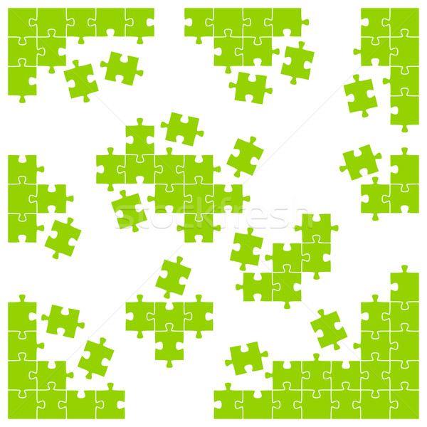 Stock photo: colored puzzle - corner pieces and individual parts