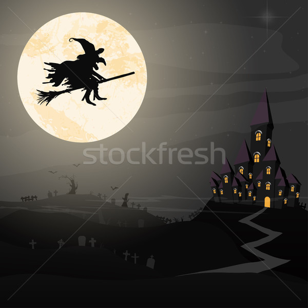 Halloween witch in front of full moon Stock photo © opicobello