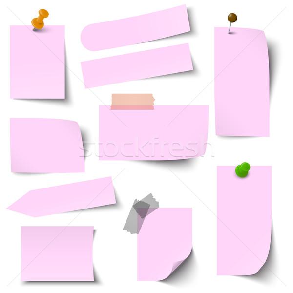 Toplama kâğıt notlar pembe ofis arka plan Stok fotoğraf © opicobello