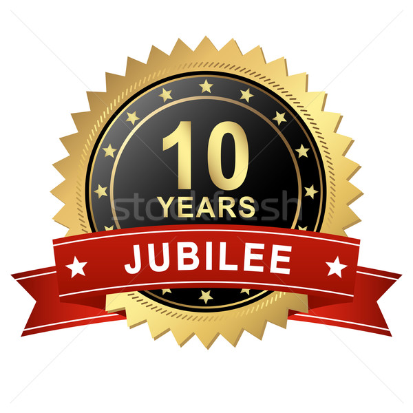 Jubilee Button with Banner - 10 YEARS Stock photo © opicobello