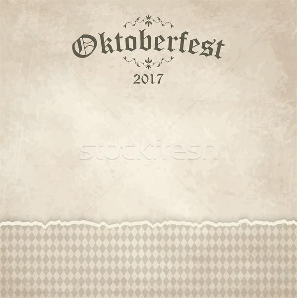 vintage background with checkered pattern for Oktoberfest 2017 Stock photo © opicobello
