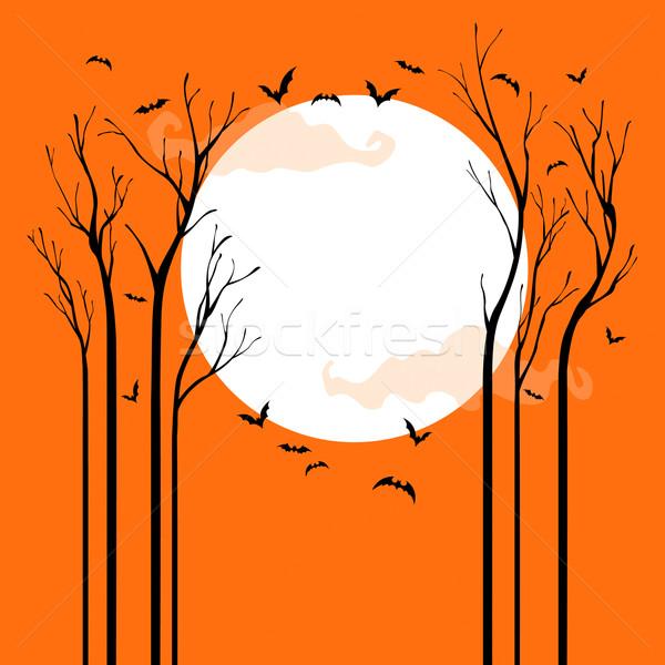 Ijesztő halloween aszalt fák éjszaka üres hely Stock fotó © ori-artiste