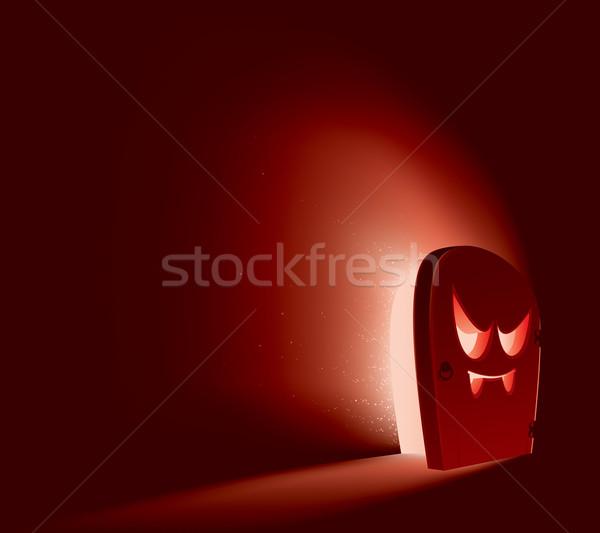 Halloween ajtó ördög arc fél út Stock fotó © ori-artiste