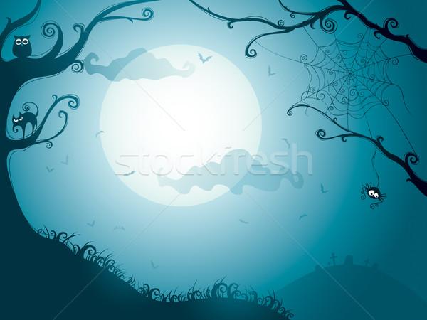 Halloween éjszaka illusztráció Stock fotó © ori-artiste