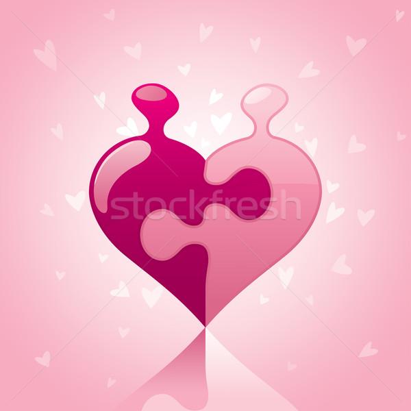 Szeretet puzzle rózsaszín szín Stock fotó © ori-artiste