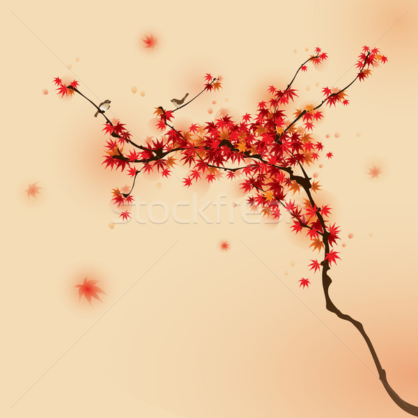 красный клен дерево осень Японский щетка Сток-фото © ori-artiste