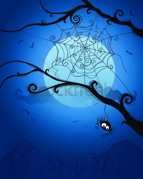 Halloween éjszaka pók akasztás fa üres hely Stock fotó © ori-artiste