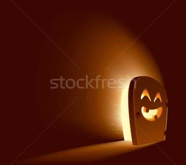 Halloween ajtó lámpás arc fél út Stock fotó © ori-artiste