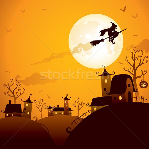 Boszorkány repülés hold halloween jelenet fölött Stock fotó © ori-artiste