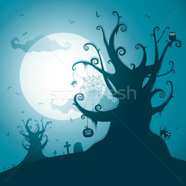 Ijesztő fa halloween éjszaka illusztráció copy space Stock fotó © ori-artiste