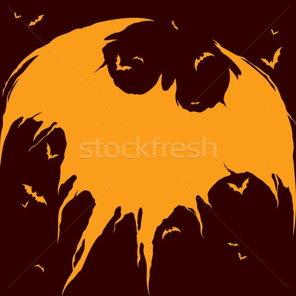 Sziluett halloween széles üres hely terv illusztráció Stock fotó © ori-artiste