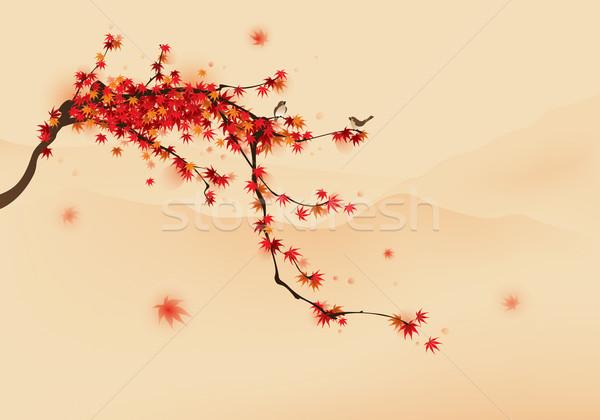 Piros juhar fa ősz madarak pihen Stock fotó © ori-artiste