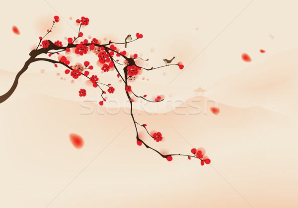 Style peinture prune fleur printemps Photo stock © ori-artiste