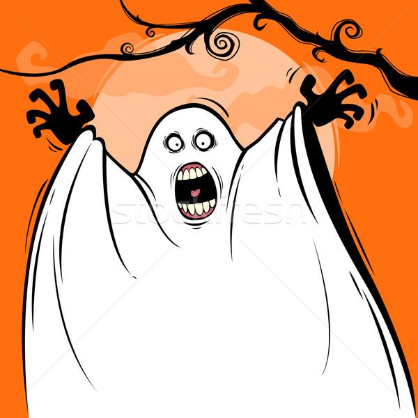 Halloween meglepetés szellem ugrik felfelé éjszaka Stock fotó © ori-artiste