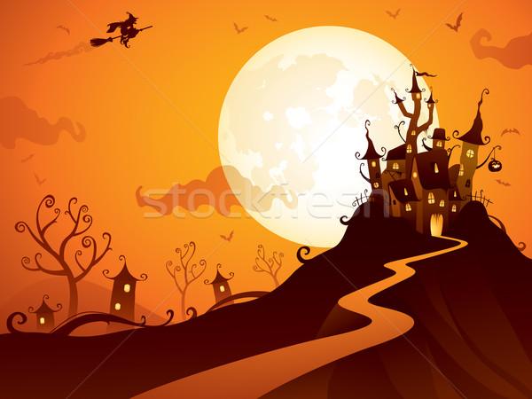 Halloween kastély ijesztő jelenet széles copy space Stock fotó © ori-artiste