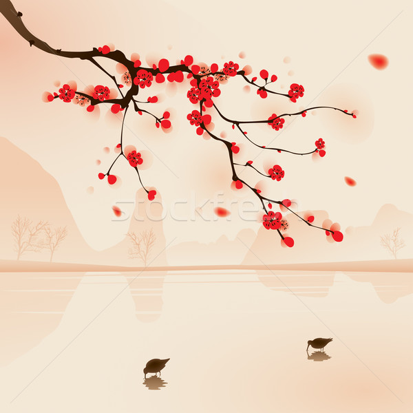 oriental style painting, plum blossom in spring Stock photo © ori-artiste