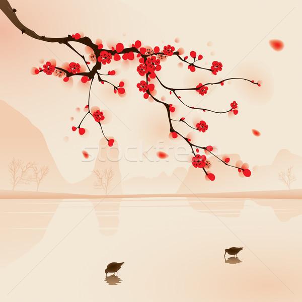 Távolkeleti stílus festmény szilva virág tavasz Stock fotó © ori-artiste