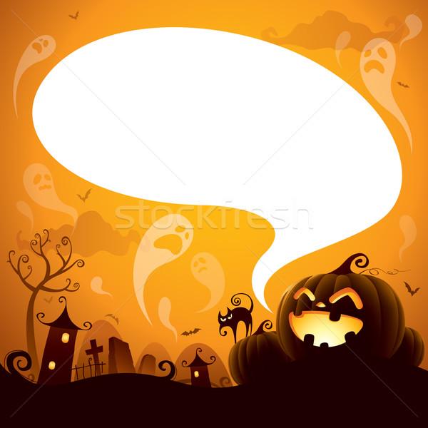 Halloween szövegbuborék terv szellemek lebeg égbolt Stock fotó © ori-artiste