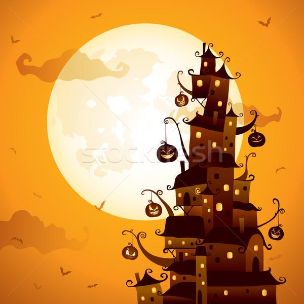 Хэллоуин празднования города иллюстрация ночь Сток-фото © ori-artiste