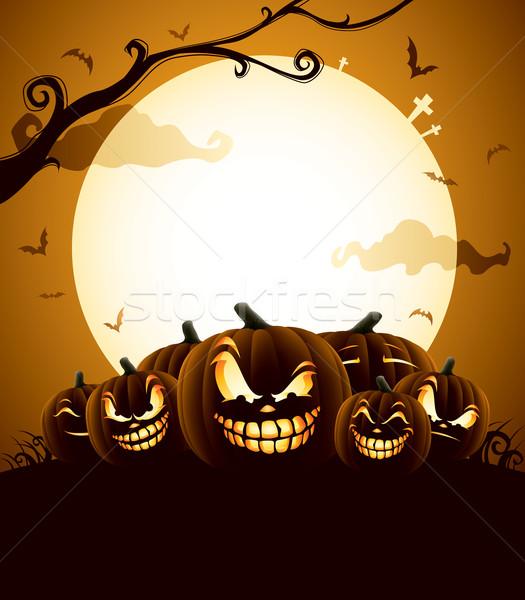 Halloween tökök holdfény ijesztő lámpás család Stock fotó © ori-artiste