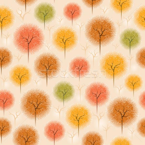 Végtelenített ősz fa minta vízfesték stílus Stock fotó © ori-artiste