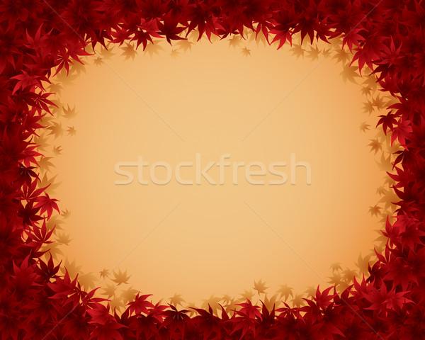 ősz keret keret piros juhar levelek Stock fotó © ori-artiste