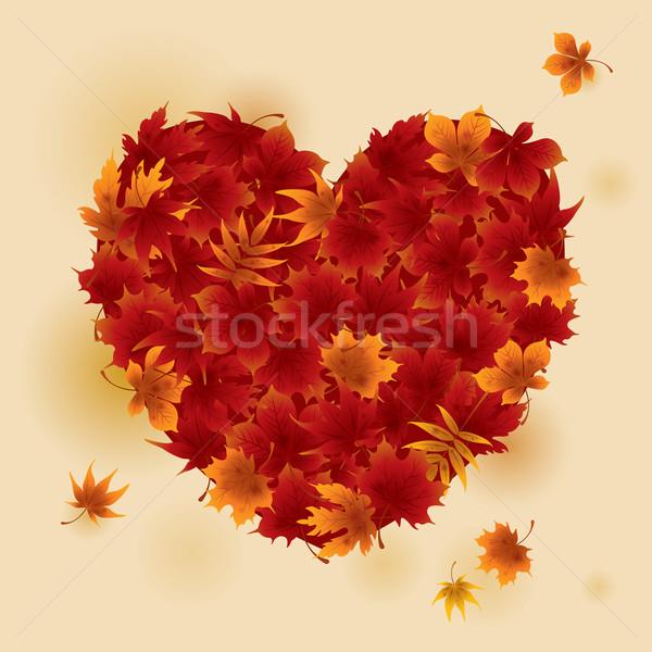 ősz piros juhar levelek szív vektor Stock fotó © ori-artiste