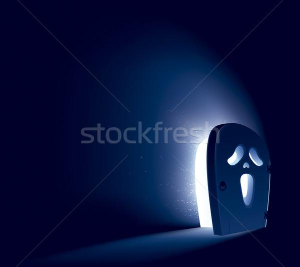 Halloween ajtó sikít szellem arc fél Stock fotó © ori-artiste