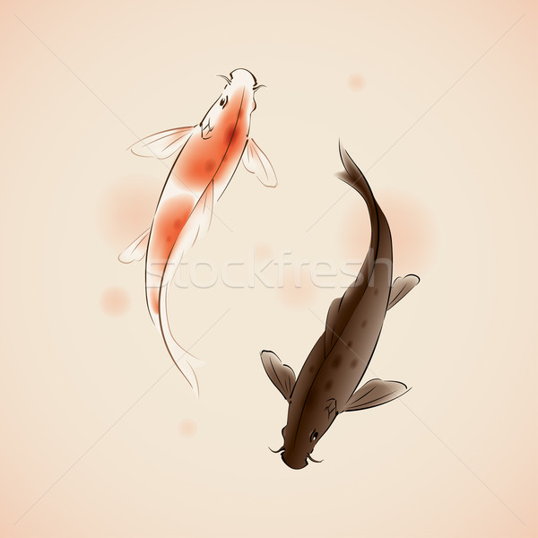 Yin Yang Koi fishes in oriental style painting Stock photo © ori-artiste