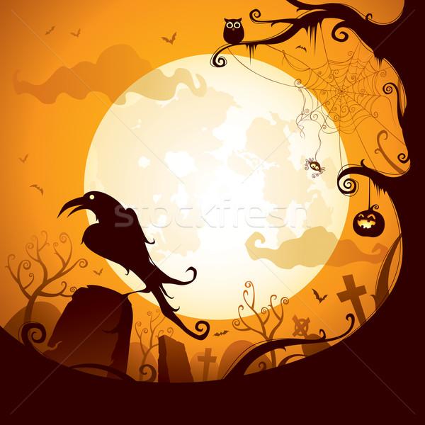 Halloween varjú temető jelenet Stock fotó © ori-artiste