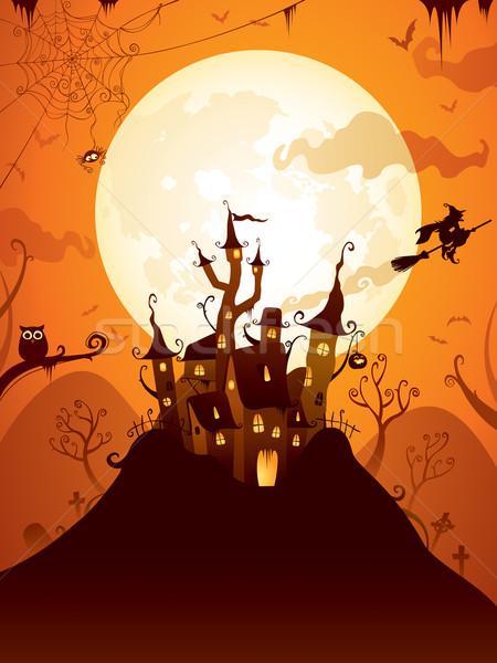 Хэллоуин замок сцена широкий копия пространства Сток-фото © ori-artiste