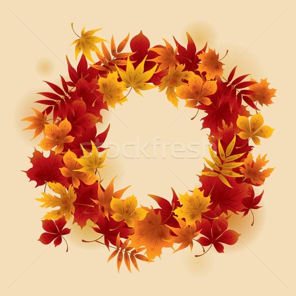 ősz koszorú juhar levelek izolált illusztráció Stock fotó © ori-artiste